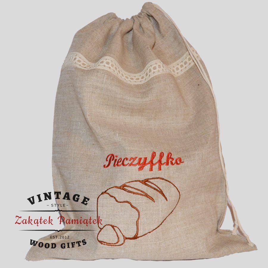 worek lniany na chleb pieczywo z koronką, zakatek pamiatek, prezent na święta, pomysł na prezent