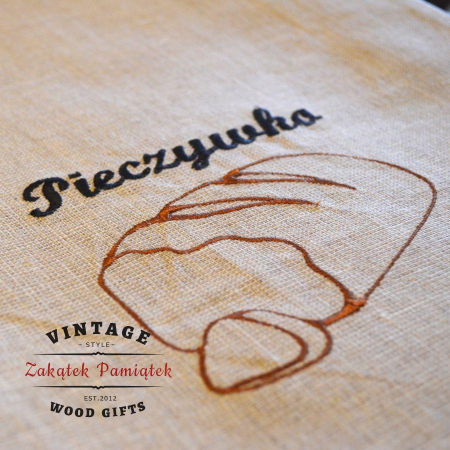 Worek lniany z haftem na chleb, pieczywo, pomysł na prezent, len 100%