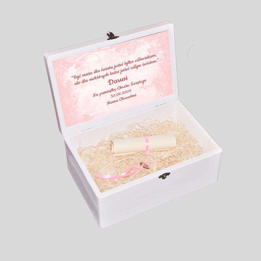 Kuferek Wspomnień na Chrzest różowy