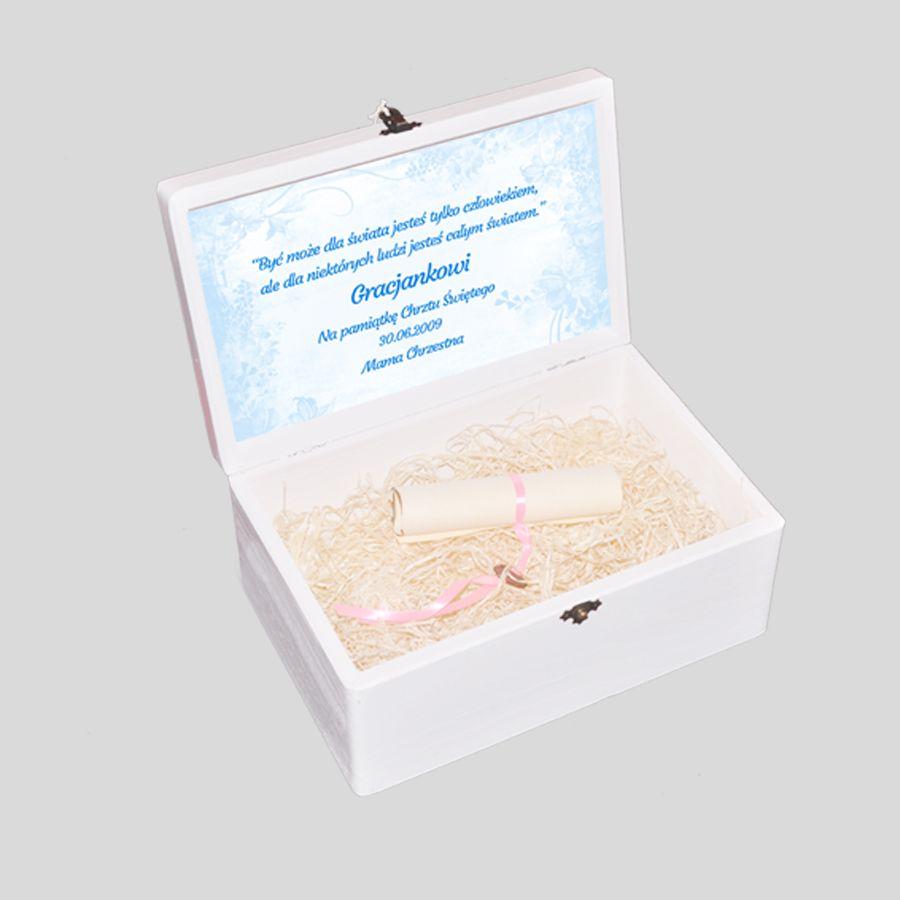 pudełko wspomnień na chrzest z życzeniami
