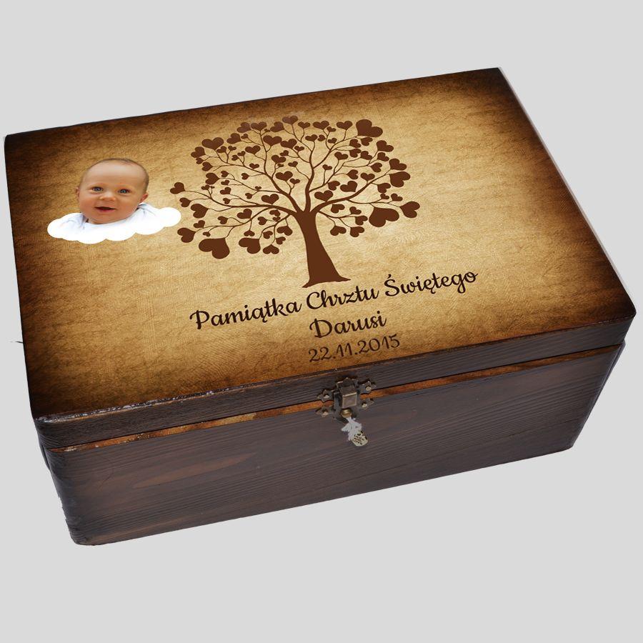 pudełko wspomnień na chrzest kuferek na chrzciny