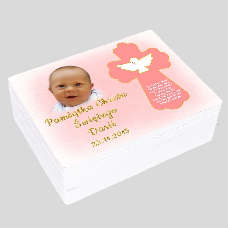 Pudełko wspomnień prezent na chrzest dla dziewczynki