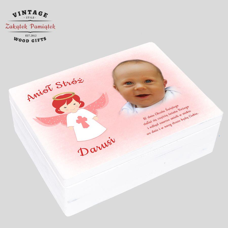 pudełko wspomnień ze zdjęciem dziecka , prezent na chrzest