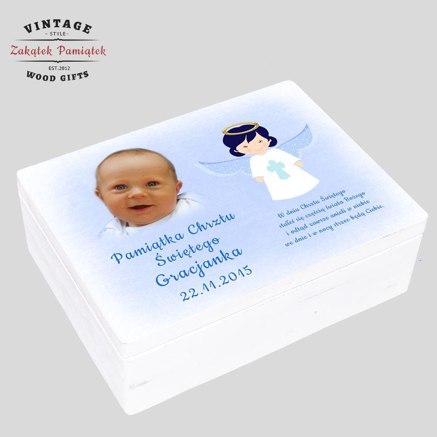pudełko wspomnień ze zdjęciem dziecka dla chłopca, prezent na chrzest, pomysł na prezent