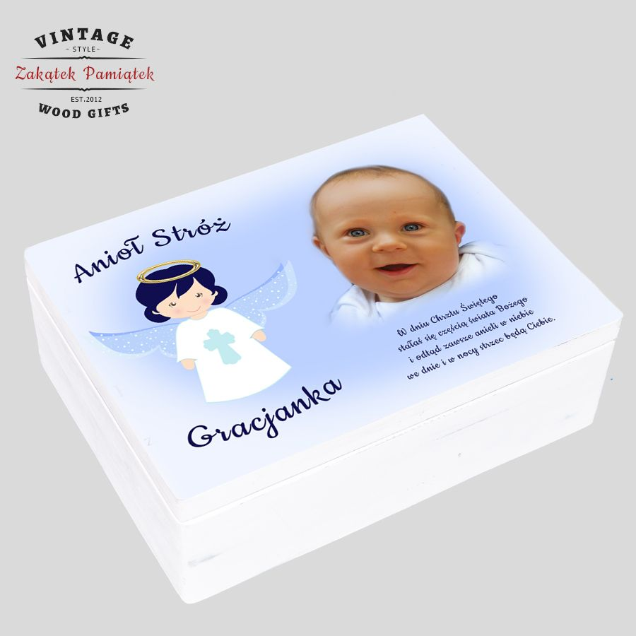 pudełko wspomnień ze zdjęciem dziecka dla chłopca