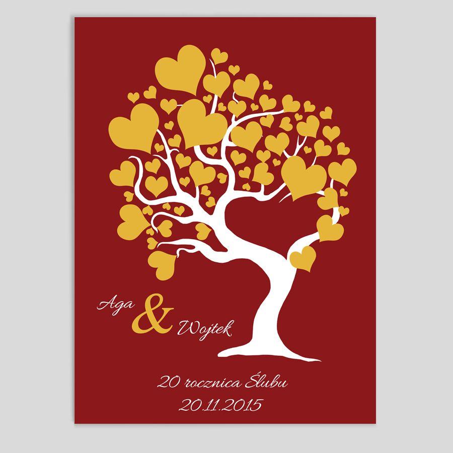 Obraz drzewo serca żółte czerwone tło
