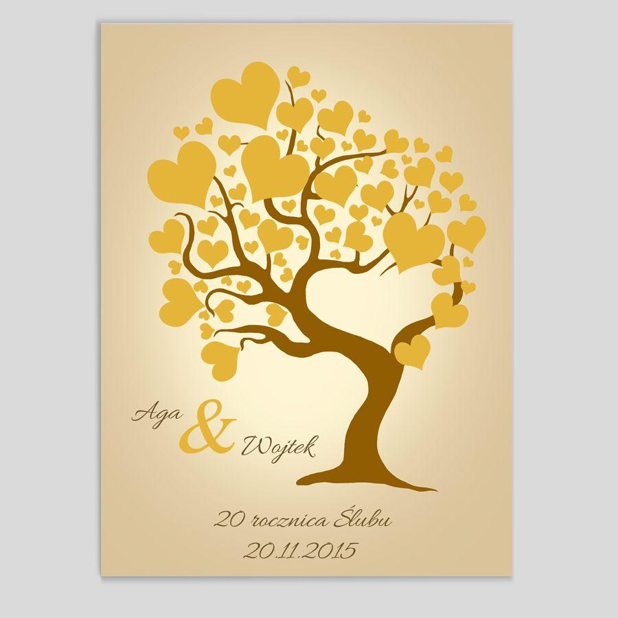 Obraz drzewo serca żółte