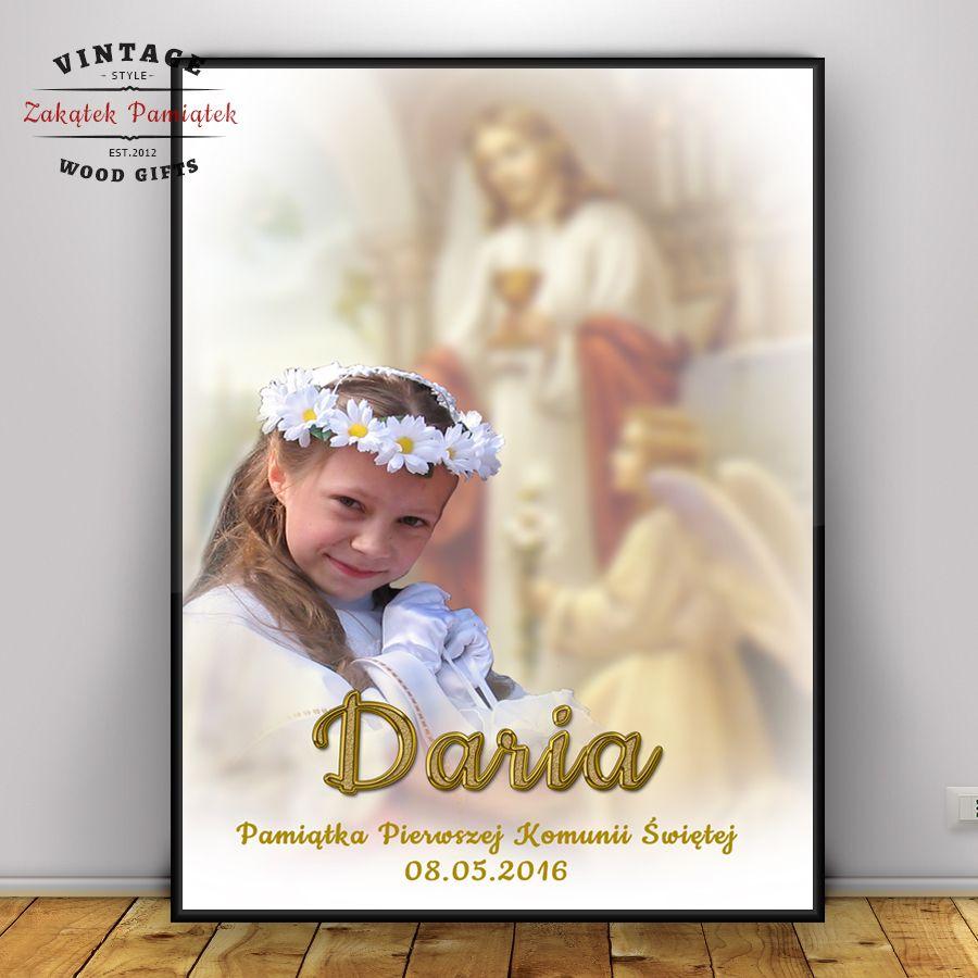 Prezent na Komunię obraz ze zdjęciem dziecka