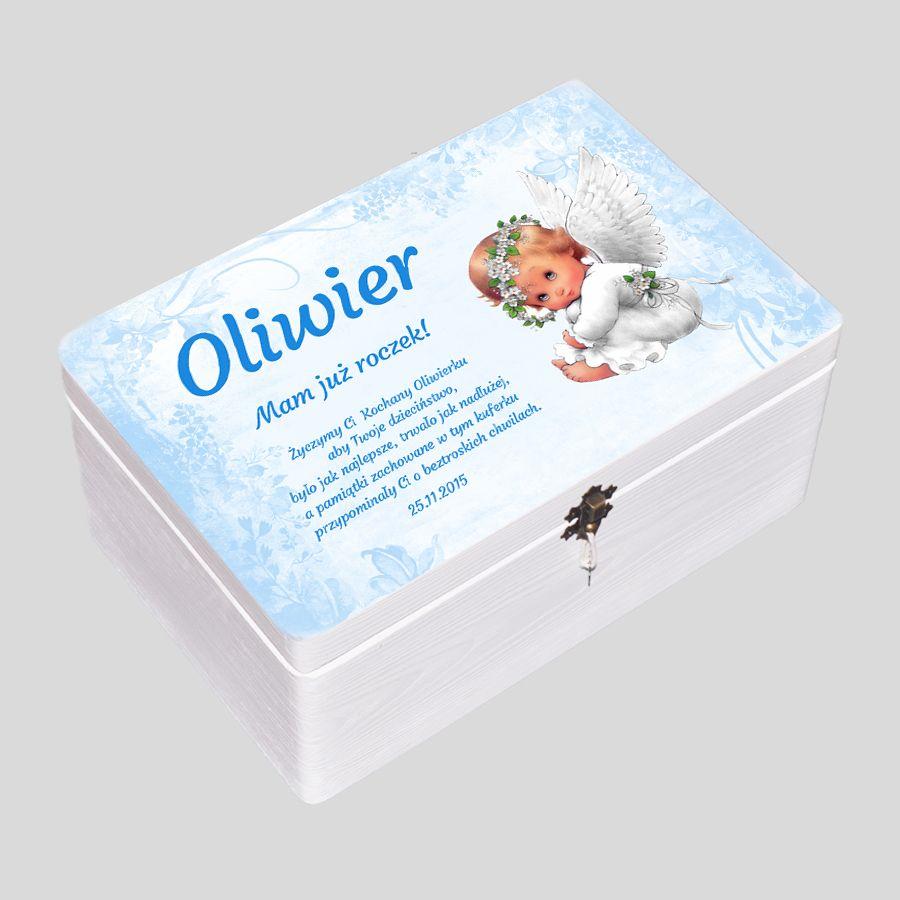 Kuferek biały niebieskie kwiaty z aniołkiem