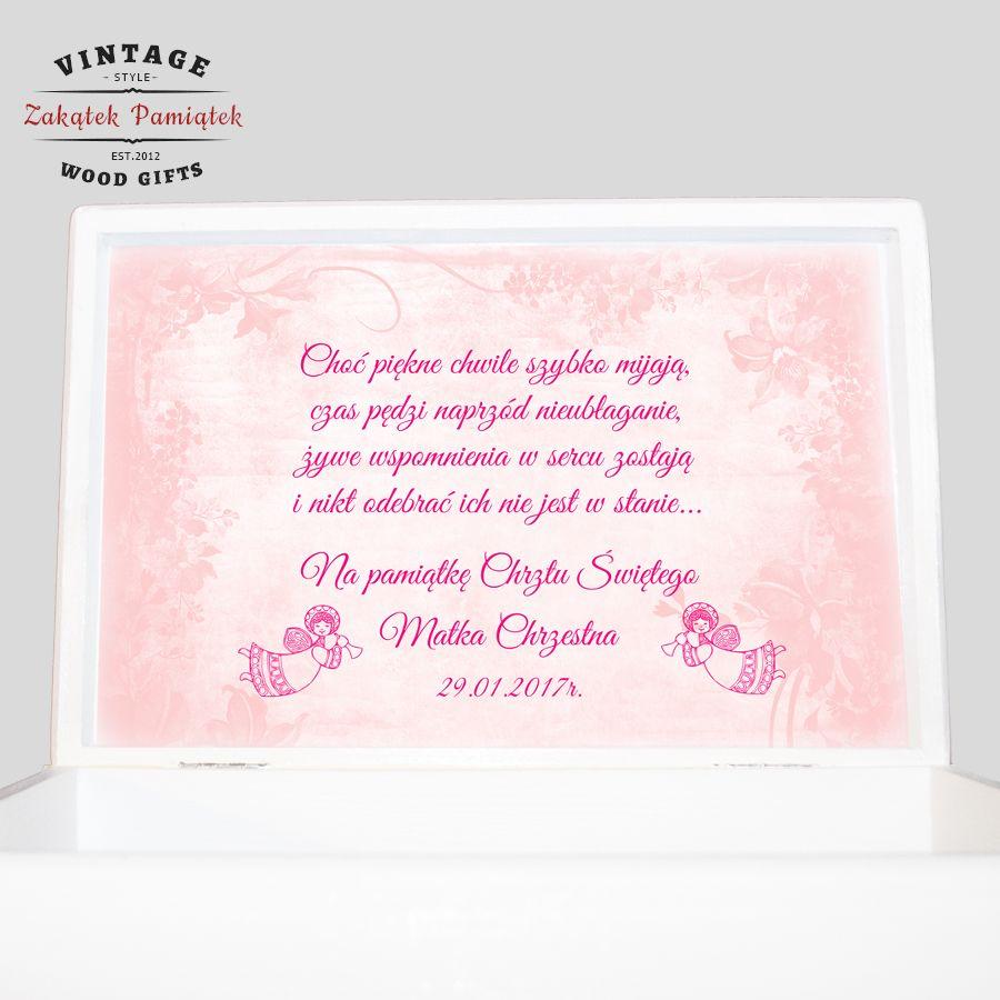 Kuferek biały różowe kwiaty ze zdjęciem