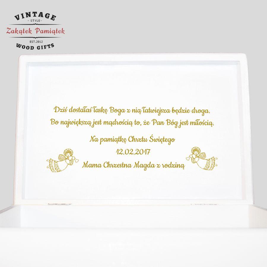 Kuferek biały złoto Chrzest Urodziny ze zdjęciem