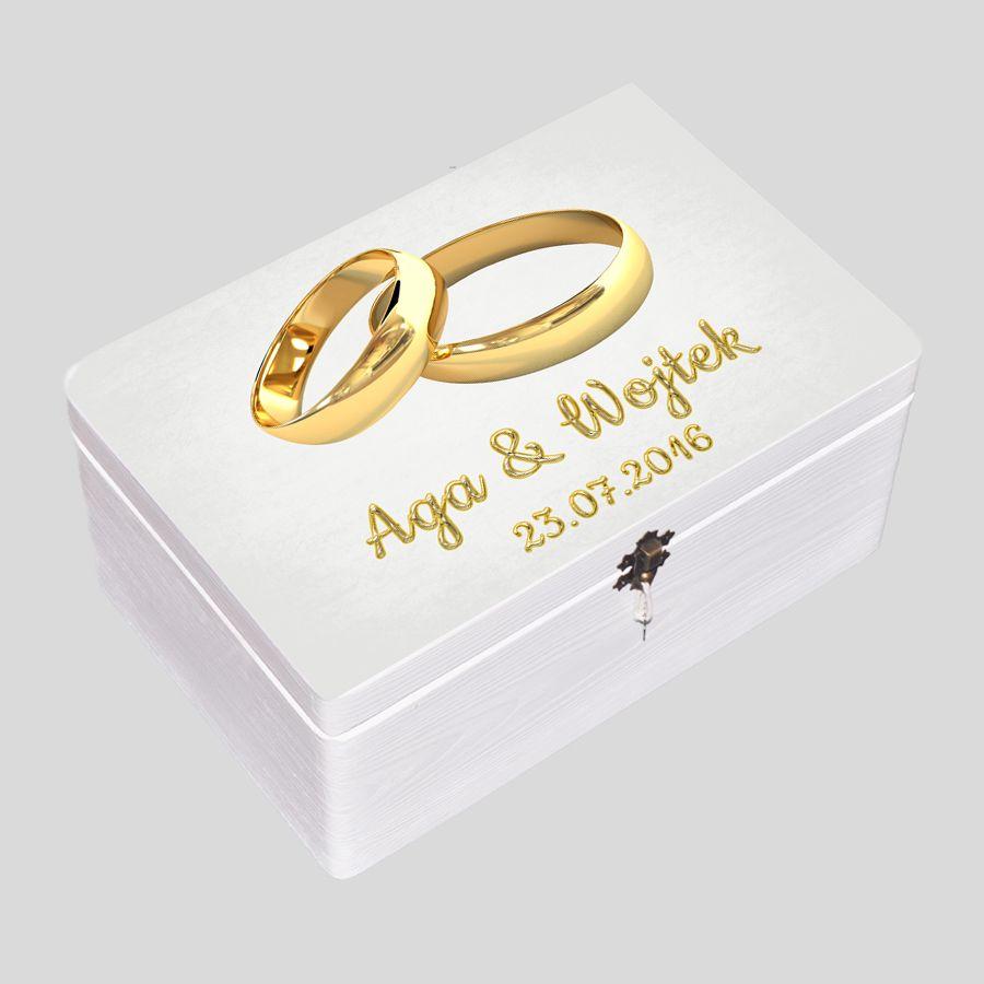 Kuferek Ślubny biały obrączki złote