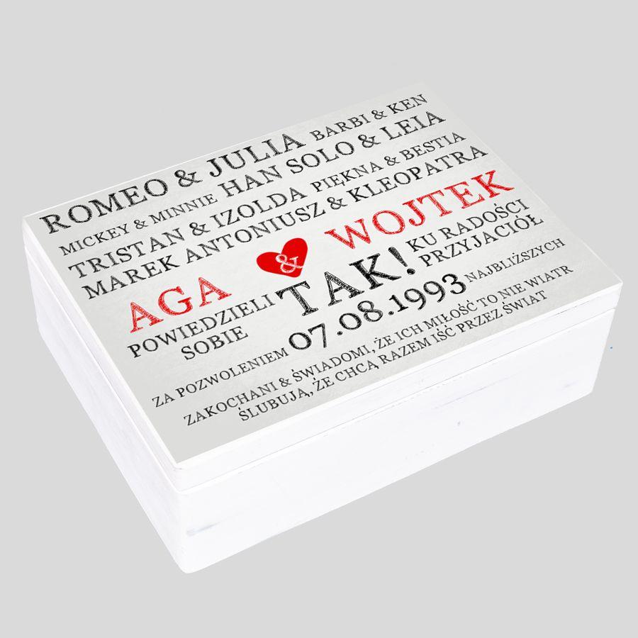 Kuferek Ślubny biały Romeo Julia