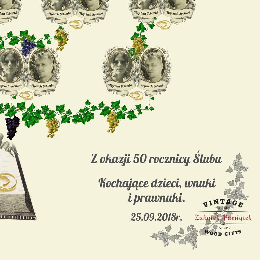 Drzewo genealogiczne winogrona Księga obraz drukowany na płótnie