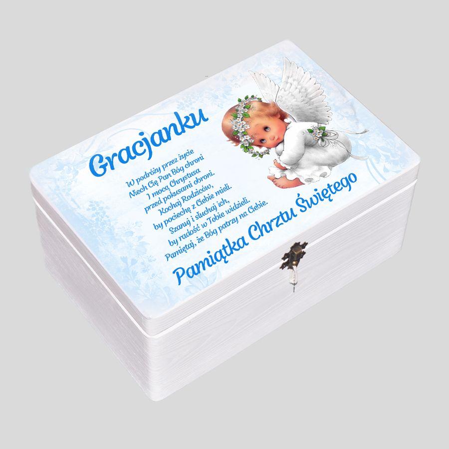 kuferek wspomnień dla chłopca, pudełko wspomnień na pamiatki dla chłopca