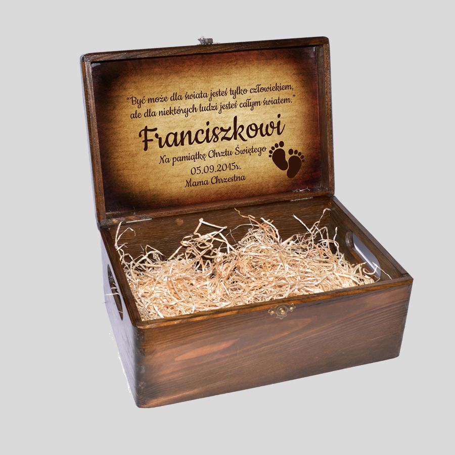 Kuferek Wspomnień na odlewy gipsowe 3D rączki nóżki brązowy