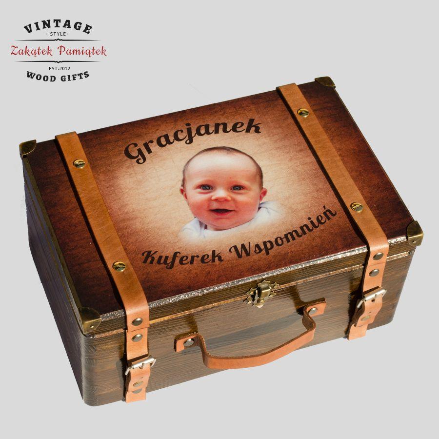Kuferek Wspomnień walizka ze skórzanymi paskami brązowymi
