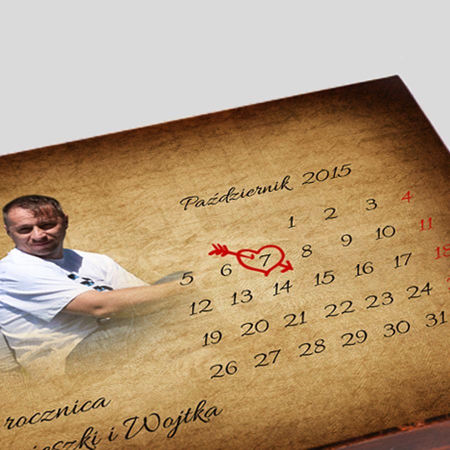 Kuferek Ślubny kalendarz ze zdjęciem