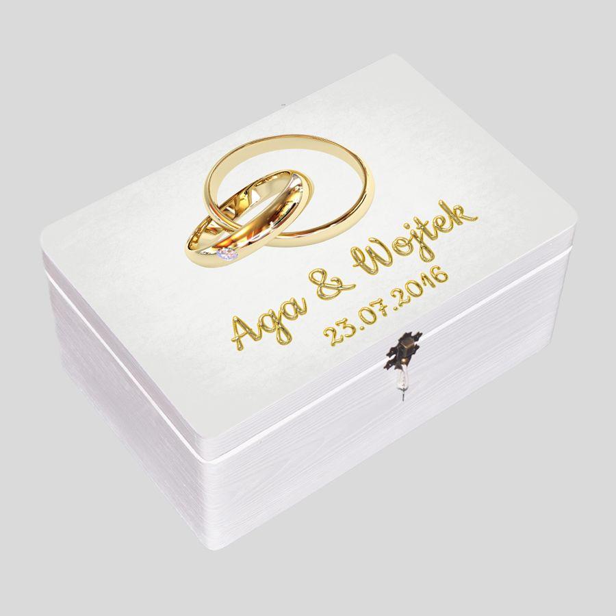Kuferek Ślubny biały obrączki z diamentem