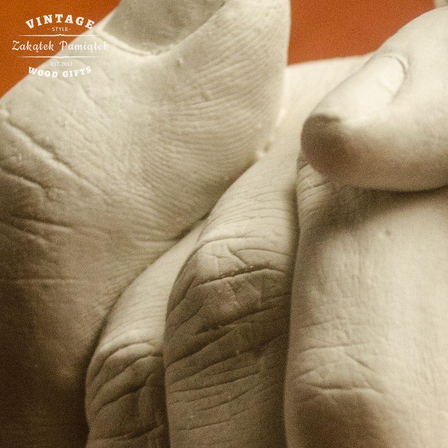 Uścisk Miłości odlew gipsowy 3D dwóch dłoni