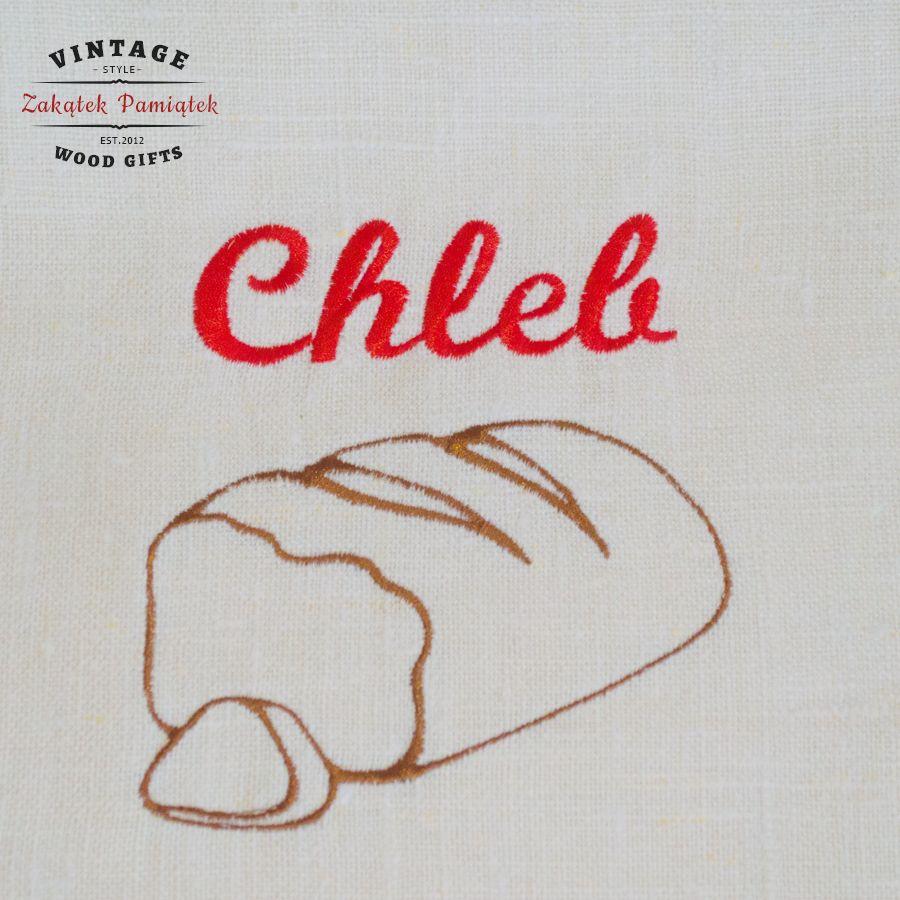 Worek lniany na chleb z haftowanym napisem i wzorem