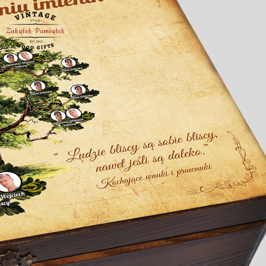 Kuferek z drzewem genealogicznym Dębowym