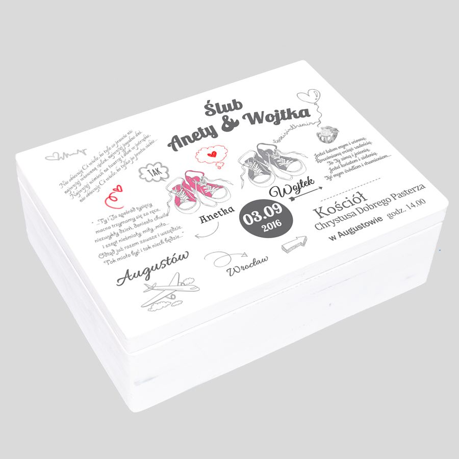Kuferek Ślubny biały motyw trampki