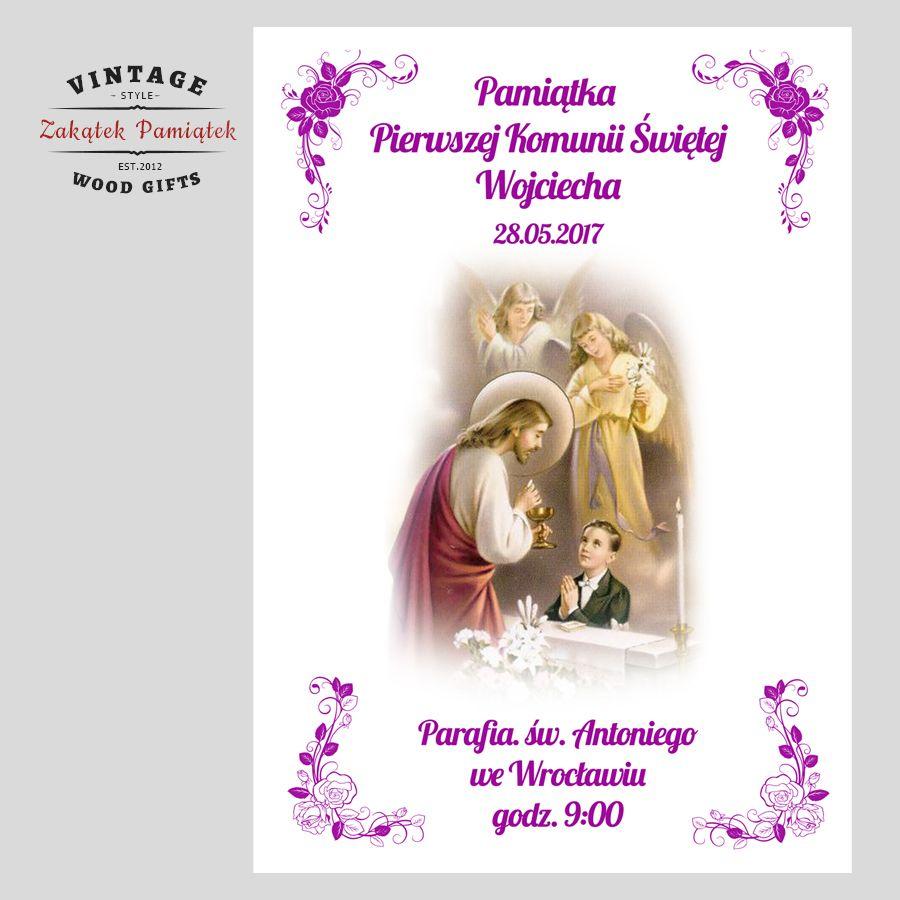 Pamiątka Pierwszej Komunii Świętej Retro życzenia na papierze ozdobnym