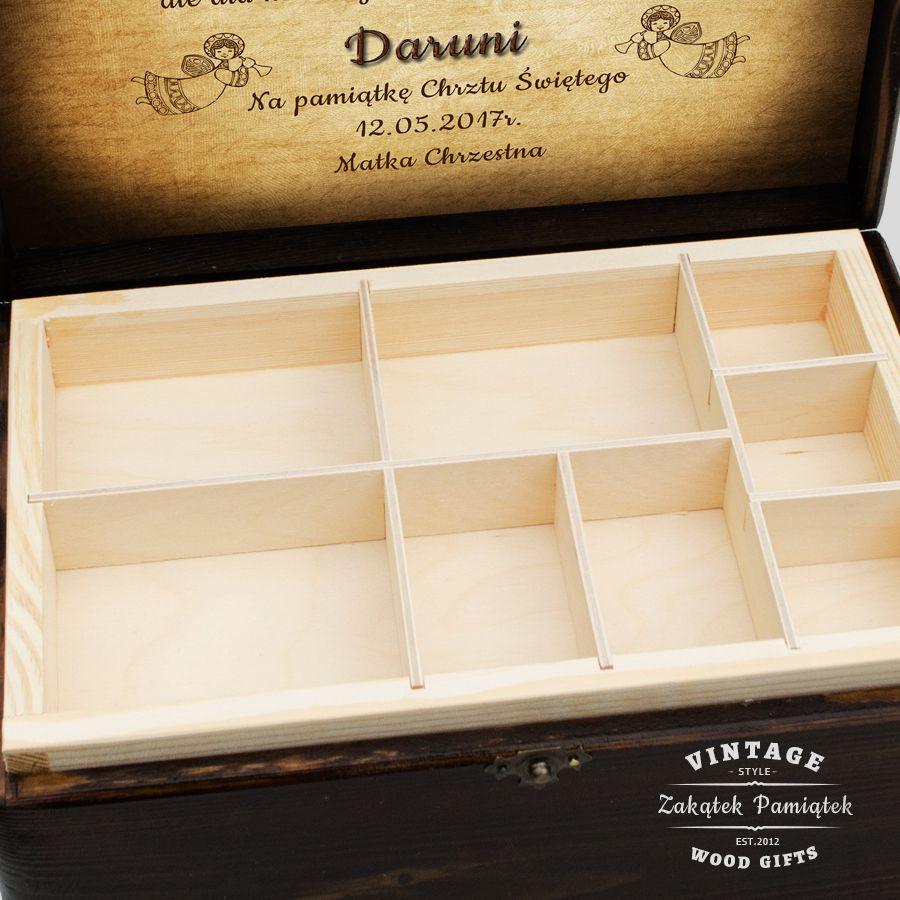 pudełko drewniane z przegródkami