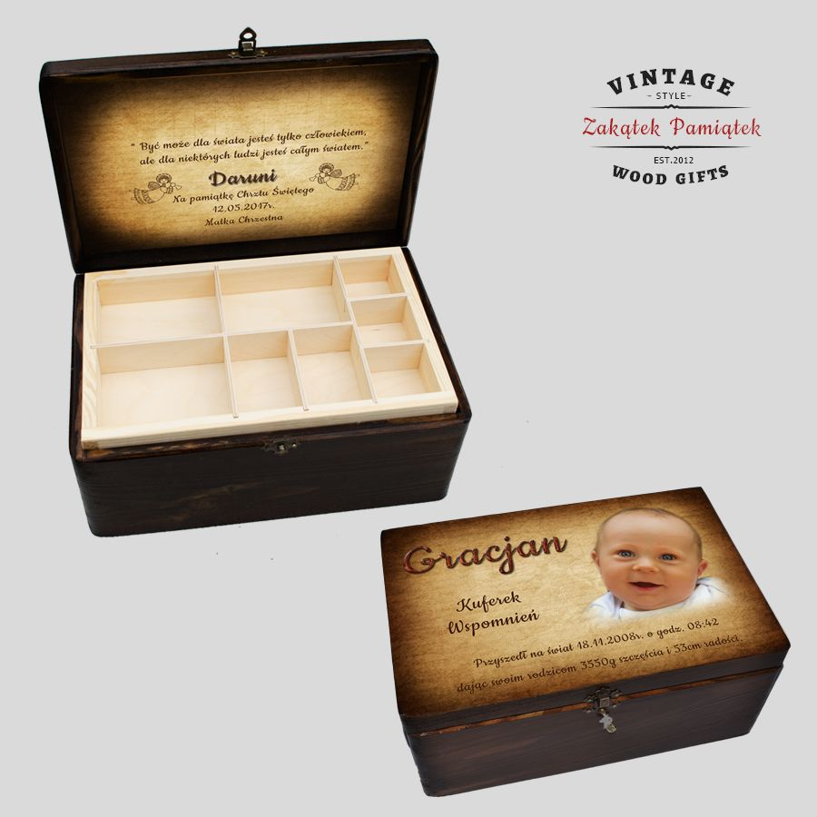 Kuferek Vintage z drewnianymi przegródkami