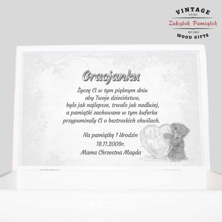Białe pudełko wspomnień prezent na Chrzest Roczek