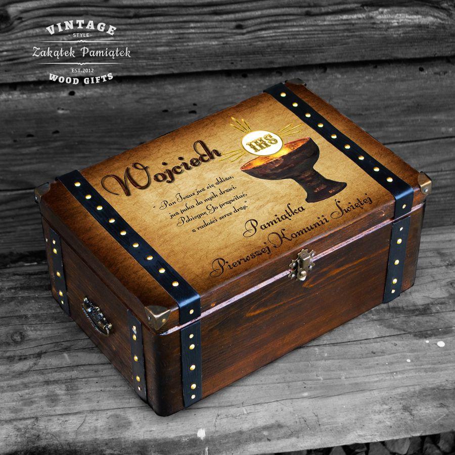 Komunia święta pudełko wspomnień kielich z okuciami