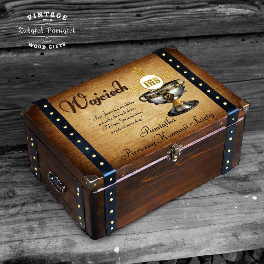 Komunia święta pudełko wspomnień kielich srebrny z okuciami