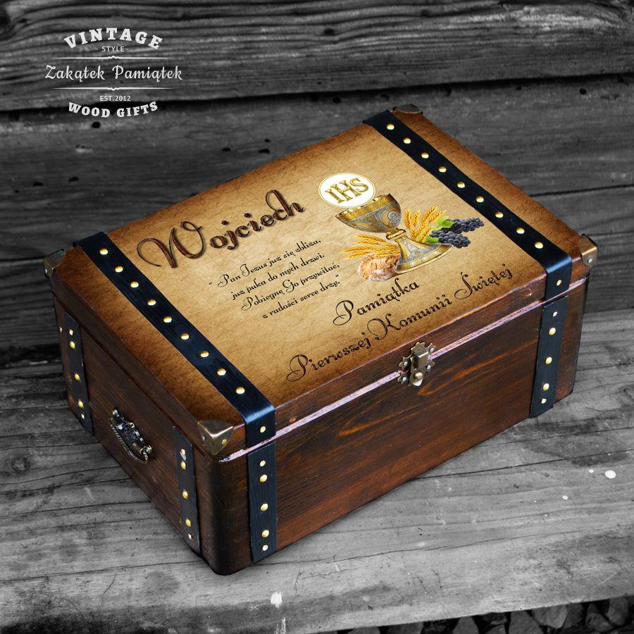 Komunia święta pudełko wspomnień kielich złoty z okuciami