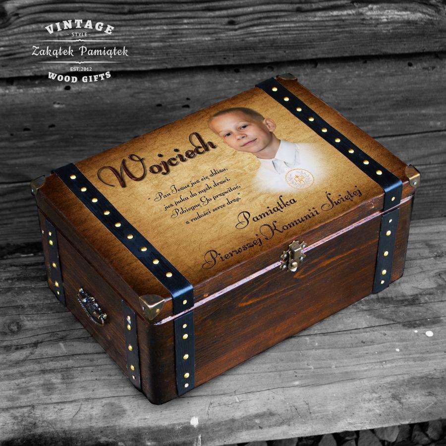 Komunia święta pudełko wspomnień ze zdjęciem z okuciami