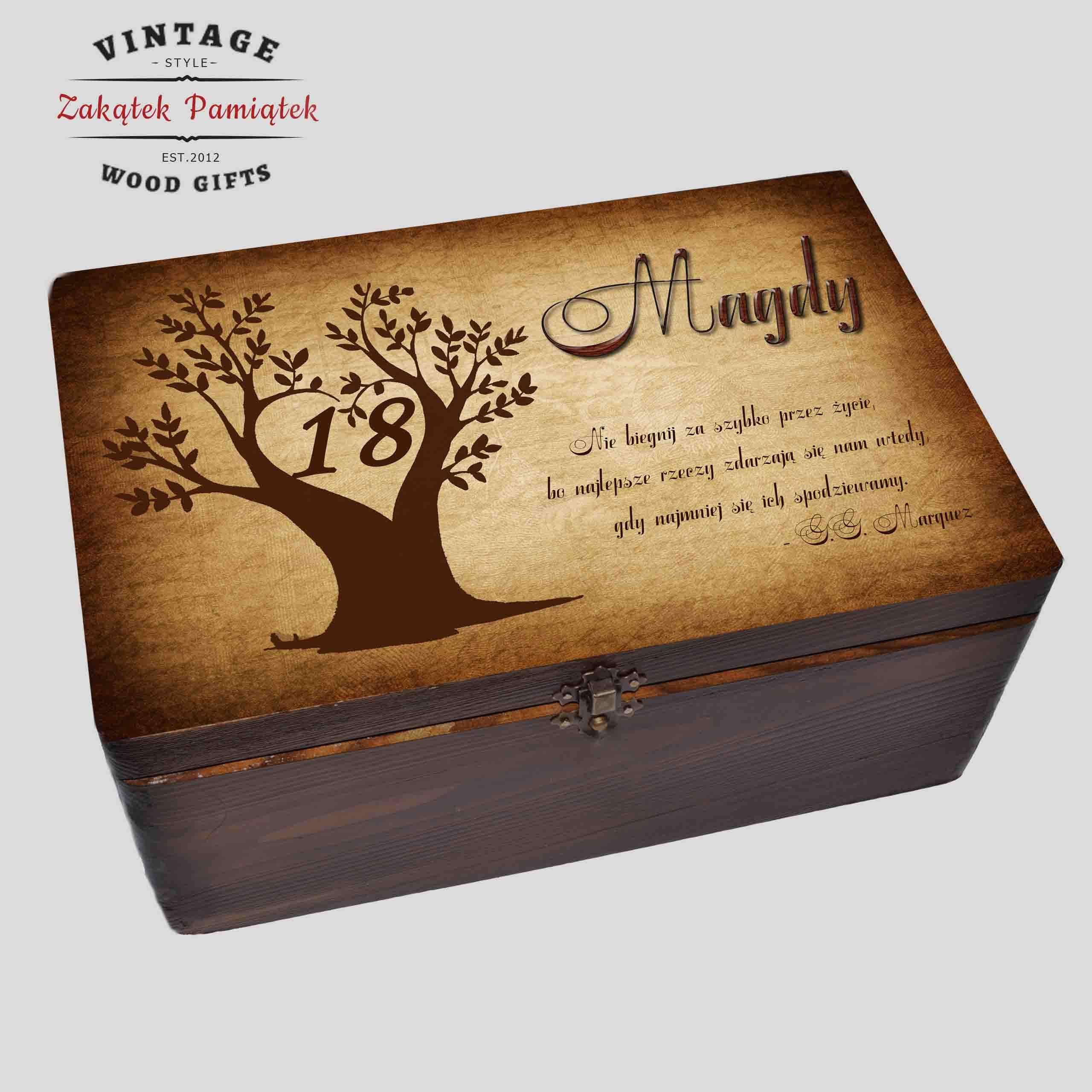 Pudełko Wspomnień brąz Drzewo na 18,30,40 urodziny