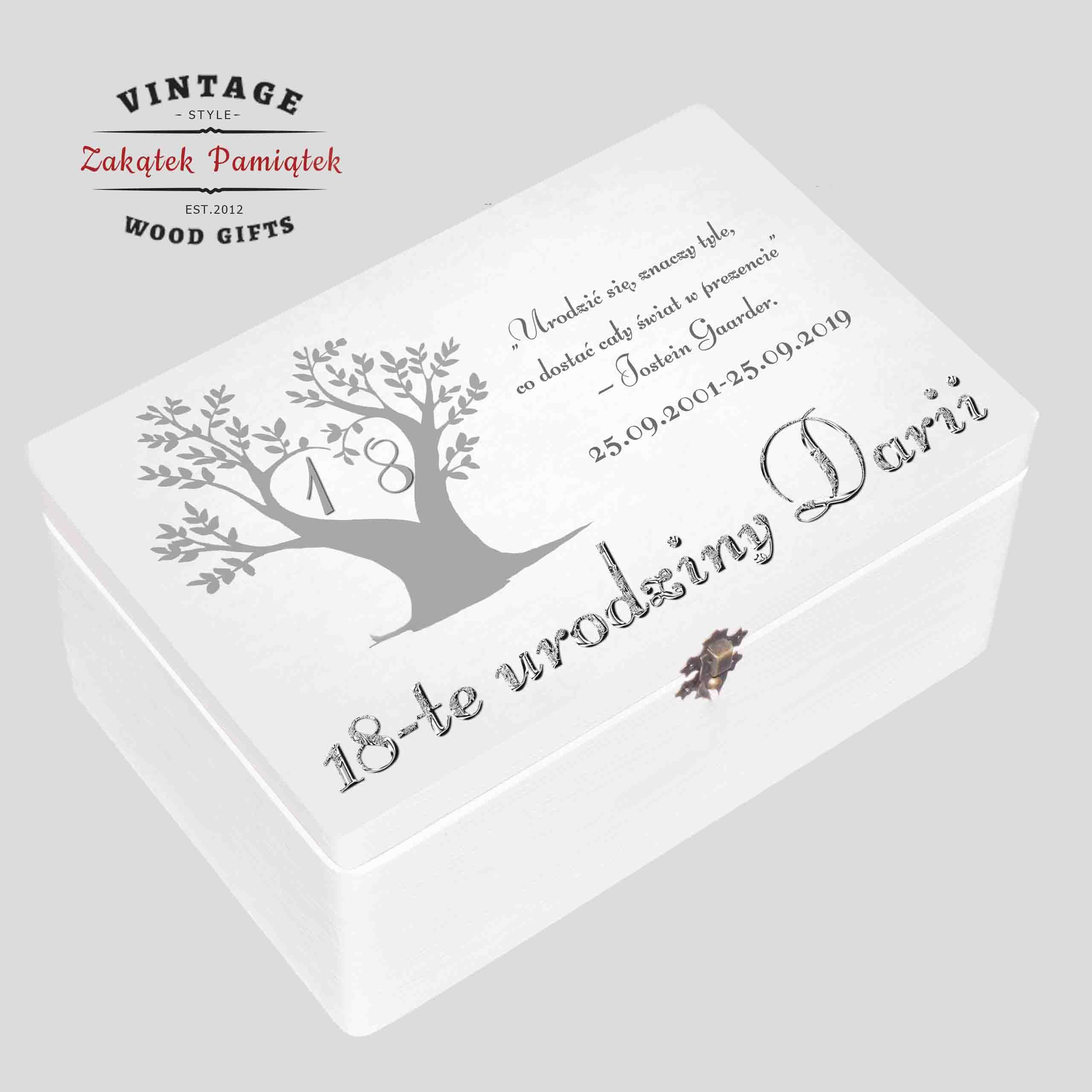Pudełko wspomnień białe prezent na urodziny Drzewo